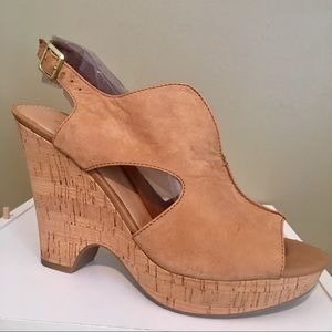 Franco Sarto Women Leather Wedge Heel Shoes SZ 9.5